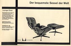 Advertentie uit het magazine Du, 1958.<br />Eames Chair, uit de Herman Miller Collectie.<br />Nog steeds in productie bij Vitra, en nog steeds het ideale meubel om stijlvol de krant in te lezen.